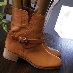 J.Crew Ryder Leather Short Boots Brown bootie